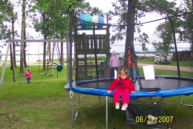 Trampoline - more fun things to do for the kids: Not going fishing ... Cooking supper ... Entertaining the kids ... they can play in the park, that's close to the RV sites & campgrounds for easy supervision.