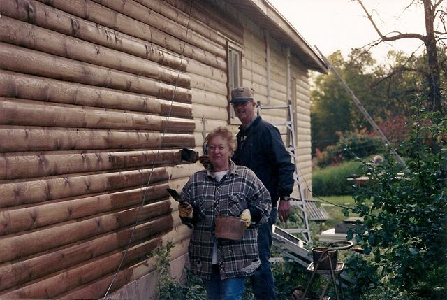 Lodge was resided with log siding: and then completely stained by good friends Linda R & Tom K
