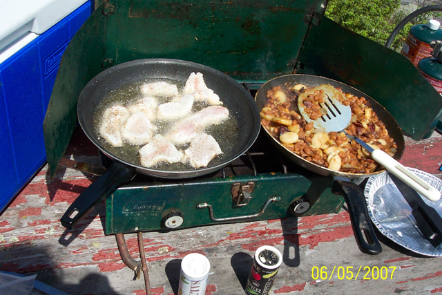 Shorelunch cooked on a propane stove.: Still the same fish, usually Walleye, caught on Lake of the Woods.  Still the same great taste.  Still the same great experience.